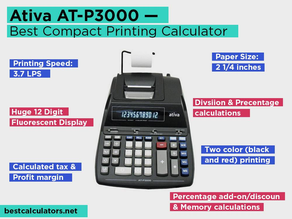 Ativa AT-P3000 Review, Pros and Cons. Check our Best Compact Printing Calculator 2018