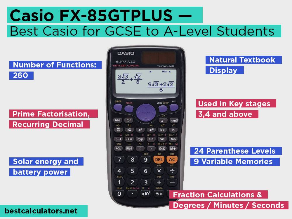 Casio FX-85GTPLUS Review, Pros and Cons. Check our Best Casio Calculator for GCSE to A-Level Students 2018