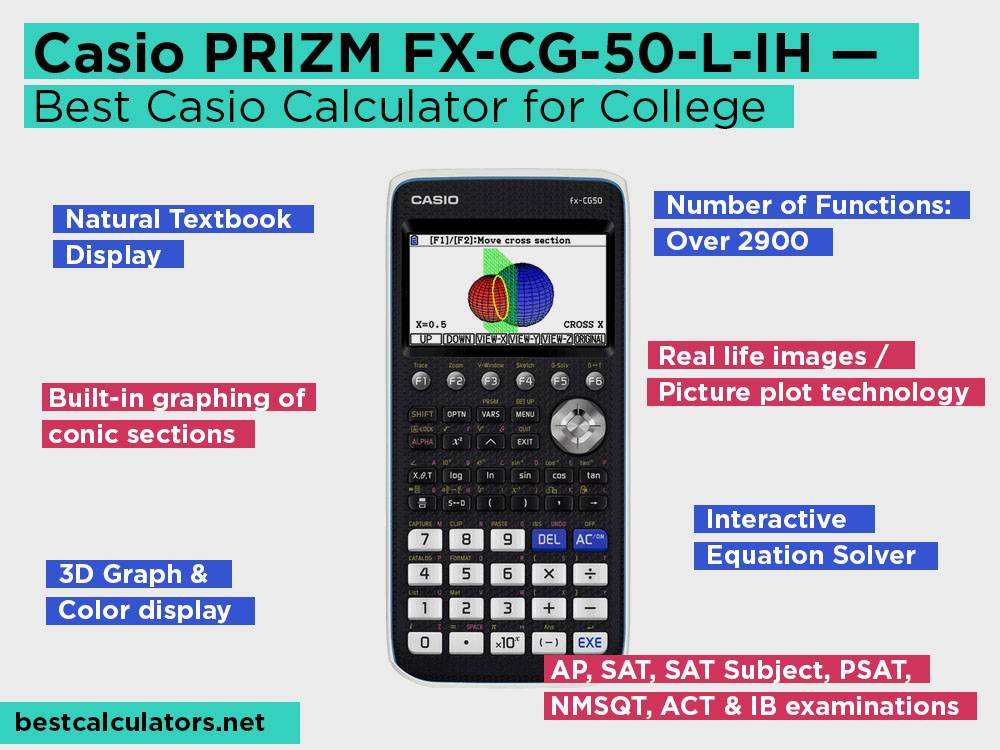 Casio PRIZM FX-CG-50-L-IH Review, Pros and Cons. Check our Best Casio Calculator for College 2018
