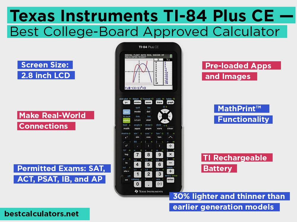 Texas Instruments TI-84 Plus CE Review, Pros and Cons. Check our Best College-Board Approved Calculator 2018