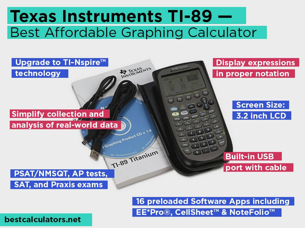 Texas Instruments TI-89 Review, Pros and Cons. Check our Best Affordable Graphing Calculator for College 2018