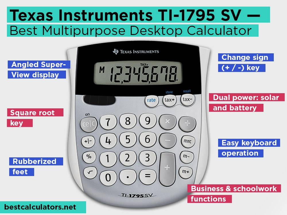 Texas Instruments TI-1795 SV Review, Pros and Cons. Check our Best Multipurpose Desktop Calculator 2018