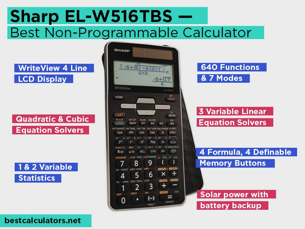 Sharp EL-W516TBS Review, Pros and Cons. Check our Best Non-Programmable Statistics Calculator 2018