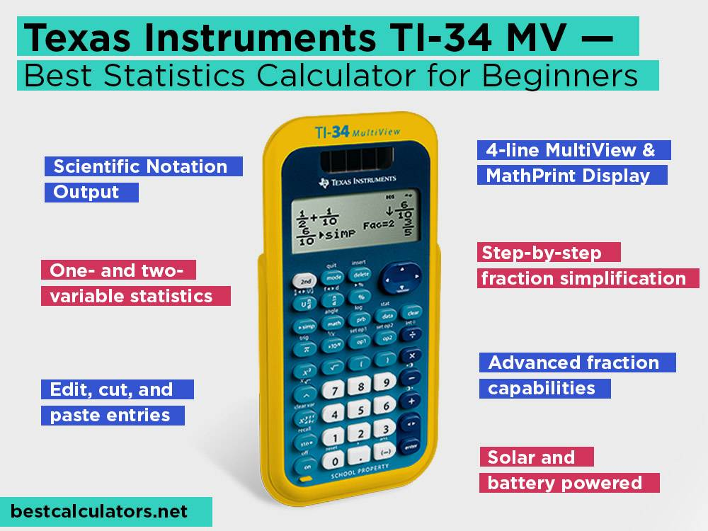 Texas Instruments TI-34 MV Review, Pros and Cons. Check our Best Statistics Calculator for Beginners 2018