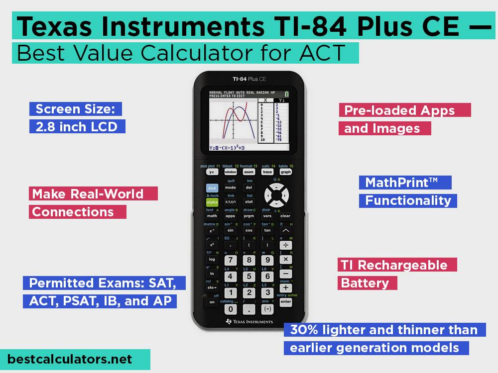 Texas Instruments TI-84 Plus CE Review, Pros and Cons. Check our Best Value Calculator for ACT 2018
