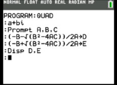 Display the quad on ti-84plus