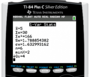 Standart Deviation on TI-84 Plus finding Results Screen